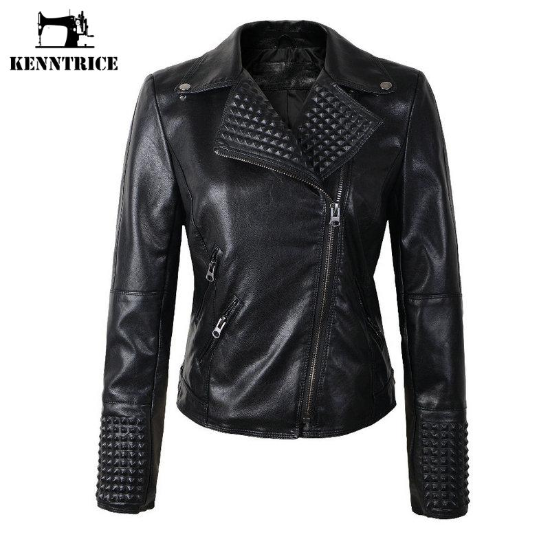 KENNTRICE Leather Jacket Women PU Leather Jackets Female Winter Motorcycle Coat Outwear Biker Jackets Ladies Leather