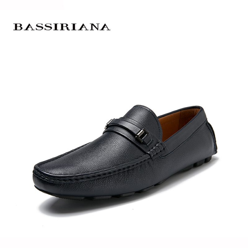 NEW 2017 Genuine leather shoes men Casual shoe Soft Comfortable Breathable 39 45 Free shipping BASSIRIANA