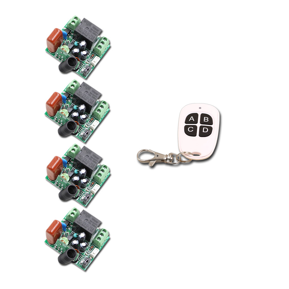AC 220V 1CH 10A Mini Relay RF Wireless Remote Control Switch Wireless Light Switch 4PCS Receiver + 2PCS Transmitter 315/433Mhz ac 220v 1channel 10a rf wireless remote control switch system 4 receiver