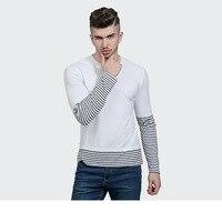 שתי חתיכה מזויפת חולצה גברים 2017 האופנה Slim Fit כותנה טלאי שרוול פסי חולצות טי מקרית מותג גבר היה סלסול