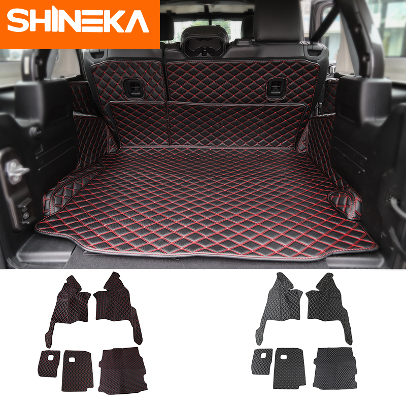 SHINEKA Cargo Liner Artificial Leather Mat For Wrangler JL 2018 Accessories Luxury Waterproof Tailgate Floor Mat For Jeep JL|  - title=