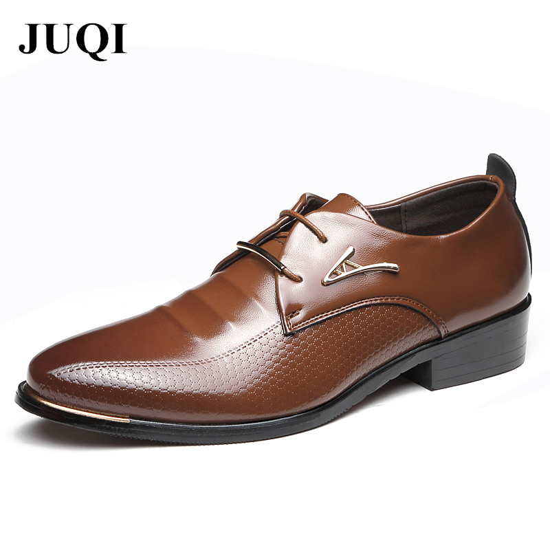New Fashion Men Dress Shoes Men's Business PU Leather Shoes Pointed Toe Lace Up Male Casual Shoes Brown Black Leather Oxfords okhotcn male pointed toe cow leather shoes daily plaid men casual business dress shoes oxfords men flat lace up sapato masculino