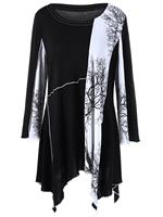 2017 Autumn New Women S Large Size T Shirt Printing Long Section Splicing Irregular T Shirt