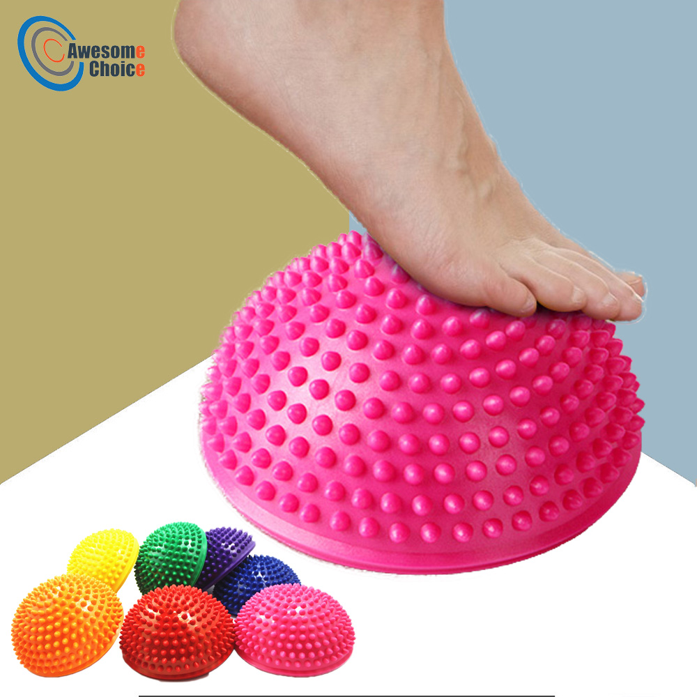 16cm Yoga Ball PVC Inflatable Massage Point Half Fit Ball Balance Trainer Stabilizer GYM Pilates Fitness Balancing Bosu Ball yoga fitness half bosu balance yoga ball bo speed ball