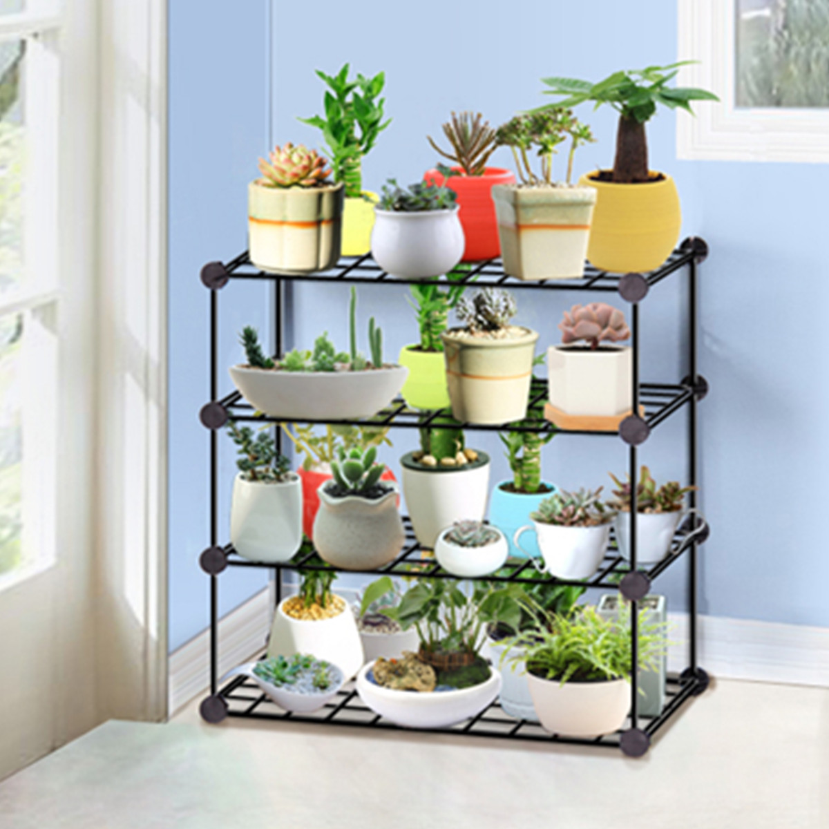 Household Wrought Iron Multi layer Plant stand Succulent Shelf Rack Balcony Simple Indoor Coffee Bar Garden Flower Pot Shelf|Plant Shelves| |  - title=