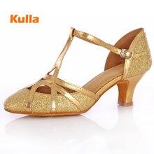 Латинская Сальса Танго Обувь для танцев для женщины, девушки, дамы высокое качество Золотая, серебряная, блестящая 5 см каблуке женские бальные Танцы обувь