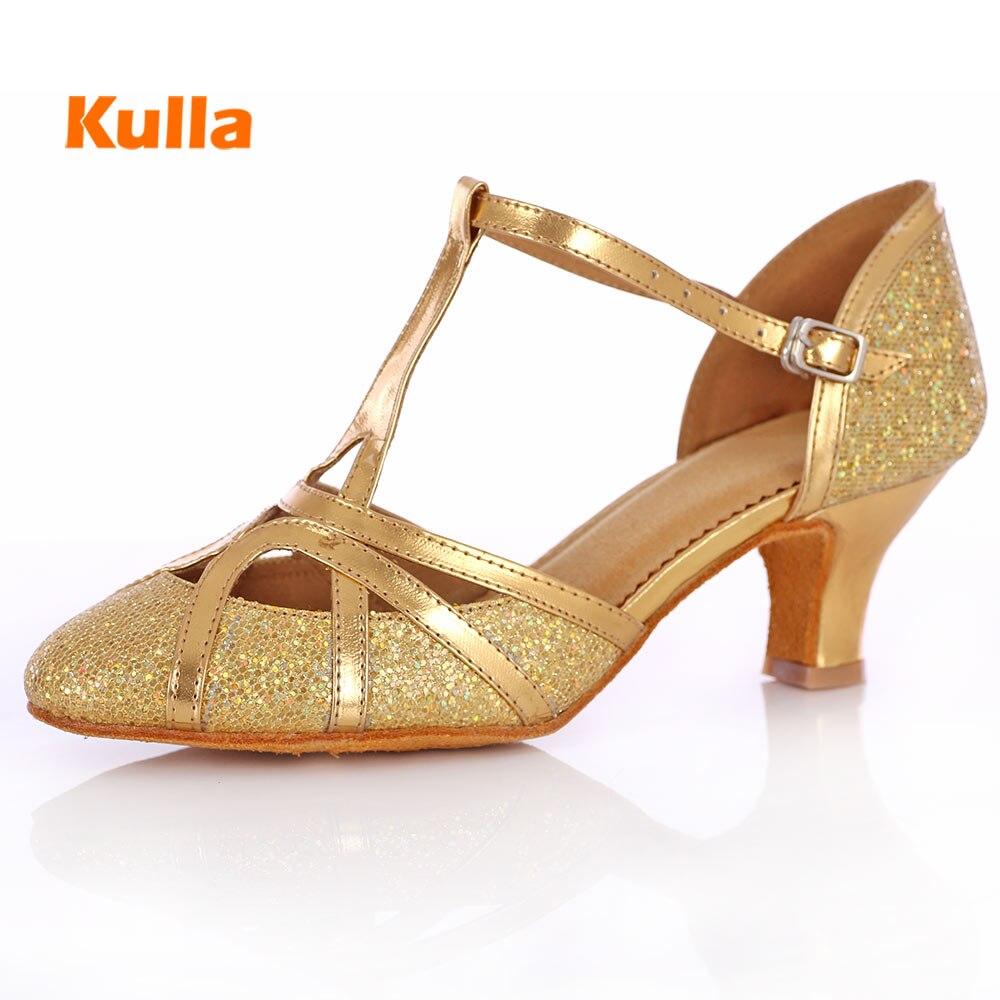 Latin Salsa Tango Dance Shoes For Woman Girls Ladies High Quality Gold  Silver Glitter 5 cm Heeled Female Ballroom Dancing Shoes 4fa730b893fe
