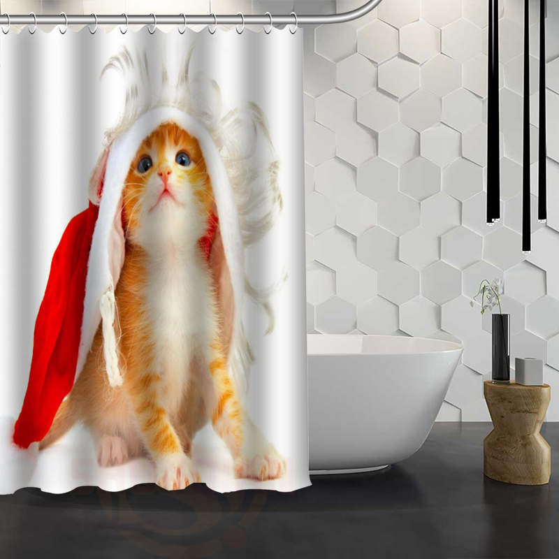 CHARMHOME Hot Sale Custom Christmas Animal Dog Cat Shower Curtain Waterproof Fabric Bath For Bathroom In Curtains From Home Garden On