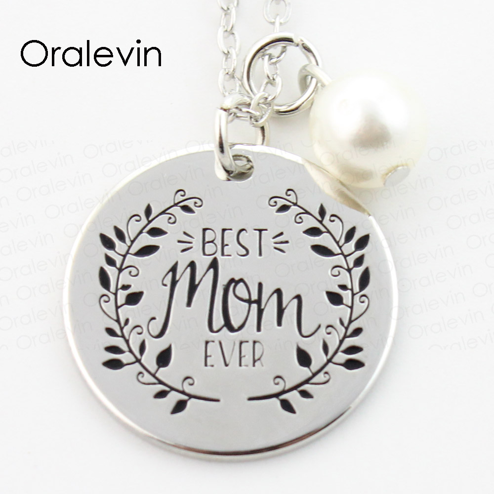 Best buy ) }}BEST MOM EVER Engraved Pendant Charms Necklace Mother Day Gift For