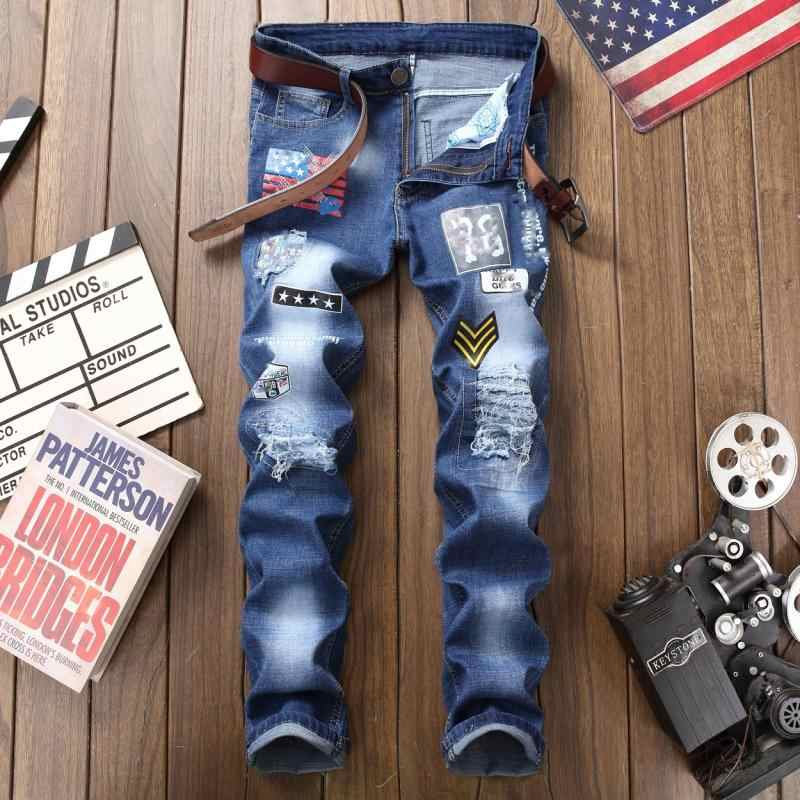 Весенне-летние тонкие рваные джинсы с дырами в европейском стиле для молодых мужчин с красочным принтом, персональные штаны в стиле пэчворк, Потрясающие мужские джинсы