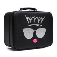 2017 Korean Style Cartoon Cute PU Leather Women Travel Costmetic Bag Fashion Portable Trunk Zipper Makeup