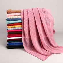 1PC Oversize Crinkle Muslim Hijab Scarf Turban Headwrap Pleated Scarves Shawls Bandanas Solid Elegant Pink Black