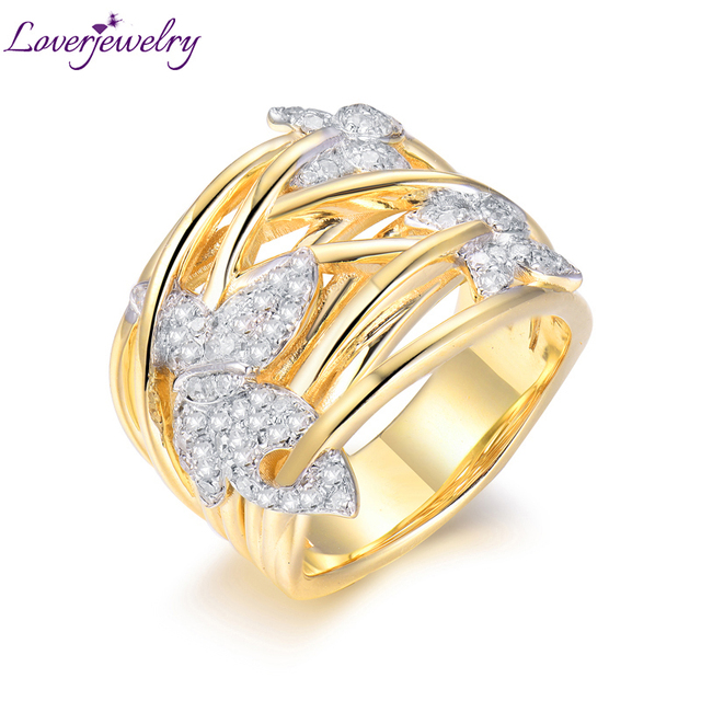Loverjewelry 2019 Classic Romantic Wedding Engagement Ring Band Real 18k Gold Diamond Rings for Women Joining Party Fine Jewelry