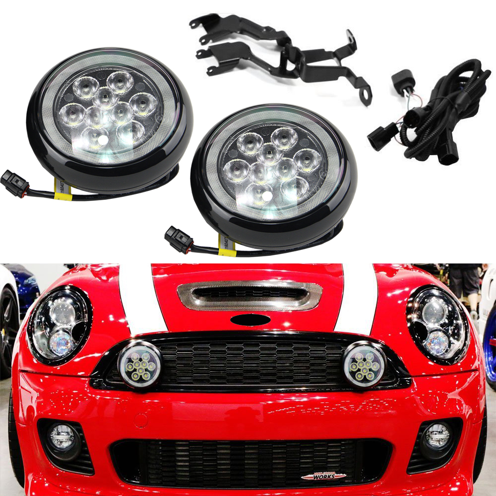 For Mini Cooper R55 R56 R57 R58 R60 R61 F56 Led Rally Driving Light With Halo Ring Angel Eyes DRL Black Shell Daylight Kits new led daytime running lights drl with halo ring angel eyes for mini cooper rally driving lights front bumper 6000k 1900lm auto
