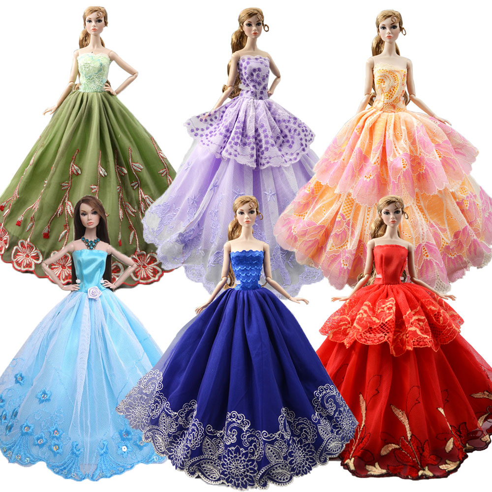 NK 2020 Newest Doll Dress Handmade Party Wedding Clothes Top Fashion Dress For Barbie Doll Accessories Child Toys Gift JJ