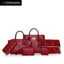 KASHIDINUO Marca 6 Unids/set Vintage Mujeres Bolsos de Cuero Casual Oficina Ladies Messenger Bags Mujer Bolso Bolsas de Hombro Sólido