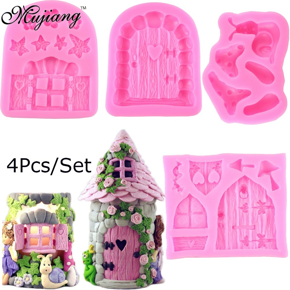 Mujiang Enchanted Vintage Fairy Garden Gnome Home Door Snail Silicone Chocolate Fondant Molds Craft Polymer Clay Cake Decorating