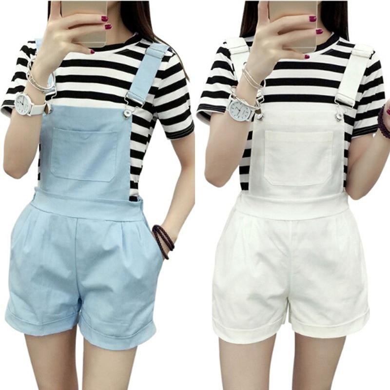 Women Elastic Waist Dungarees Linen Cotton Pockets Rompers Playsuit Strap Shorts Pants