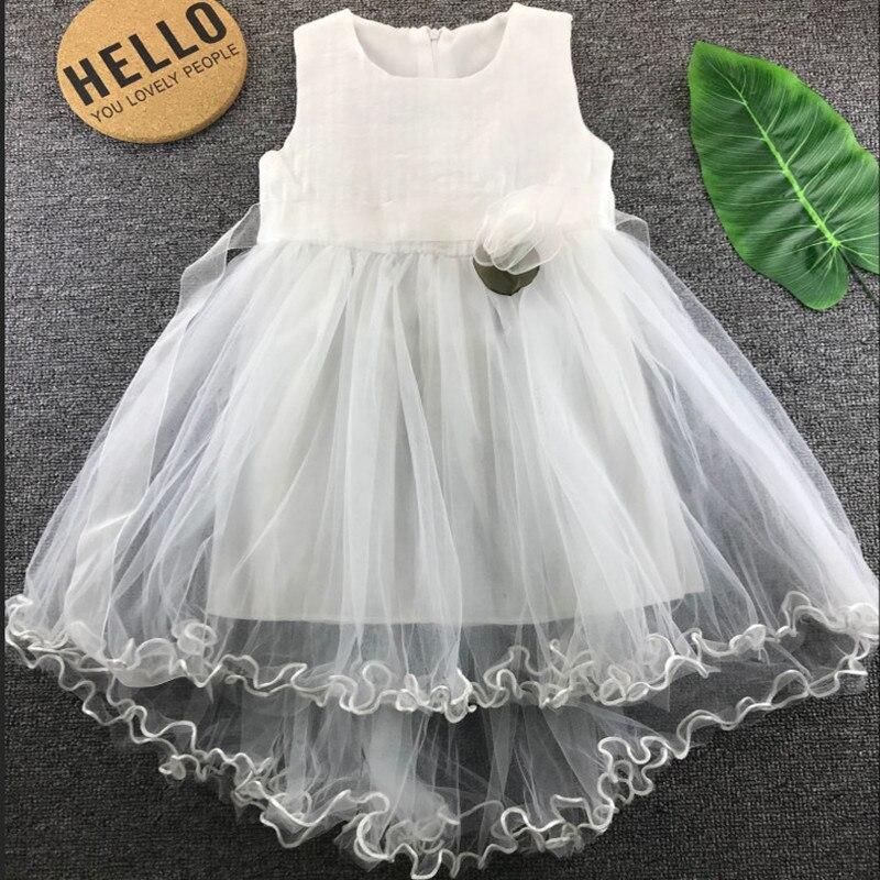 White Flower Girl Dresses 2019 Sleeveless Cute Tulle Children Summer Clothing Gowns in Dresses from Mother Kids