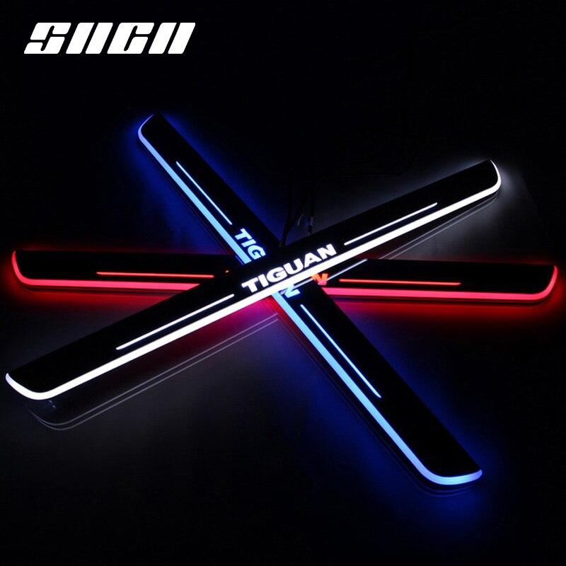 SNCN garniture pédale LED voiture lumière porte seuil seuil plaque voie dynamique Streamer bienvenue lampe pour Volkswagen VW Tiguan 2013 2014