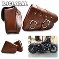 2x Universal de La Motocicleta de LA PU de Cuero alforjas Cruiser Side Almacenamiento Bolsas de Herramientas Para Harley Sportster XL883 XL1200