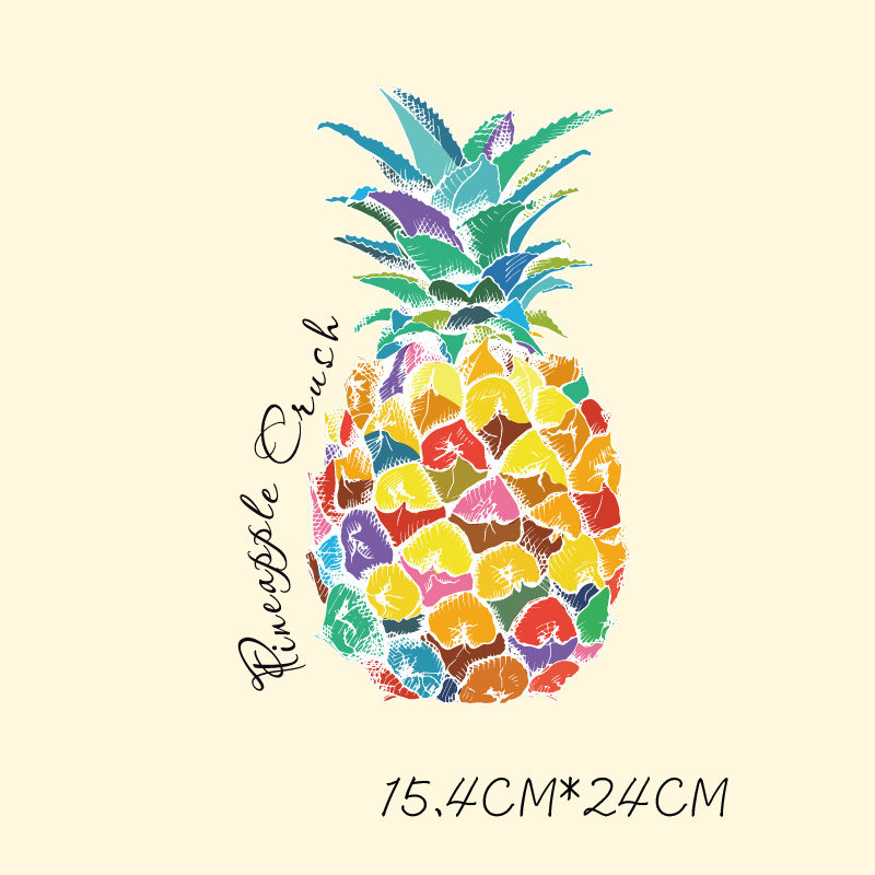 Doreenbeads 2018 Fruit Pineapple Patch Press Sticker Washable Iron On Transfers Patches For Girl Woman Cloth Bags Shoes 1PC