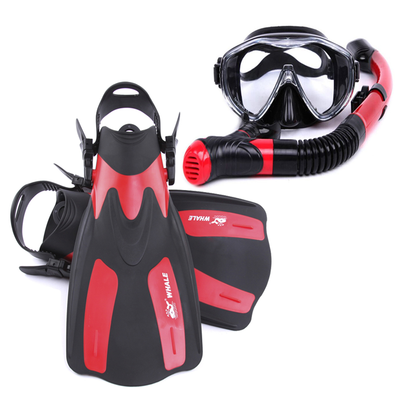 Tempered Glass Professional Snorkels Scuba Diving Mask Goggles Glasses Diving Swimming Fins Flippers Set Diving Equipment