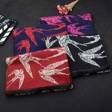 Роскошный брендовый шарф, женские модные популярные шарфы с животным рисунком, зимняя кашемировая Женская шаль из искусственной пашмины, новые шарфы Ласточки