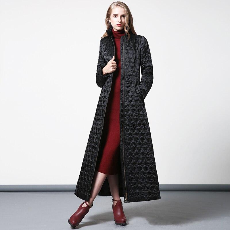 S-4XL Women Winter black   Parka   Plus Size X long Jacket slim waist Warm Overcoat Manteau Femme muslim long coat 6352