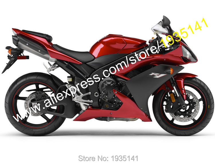 Hot Sales,For Yamaha YZF-R1 2007 2008 Body Kit YZF R1 07 08 YZF1000 Red Black Aftermarket Motorcycle Fairing (Injection molding)