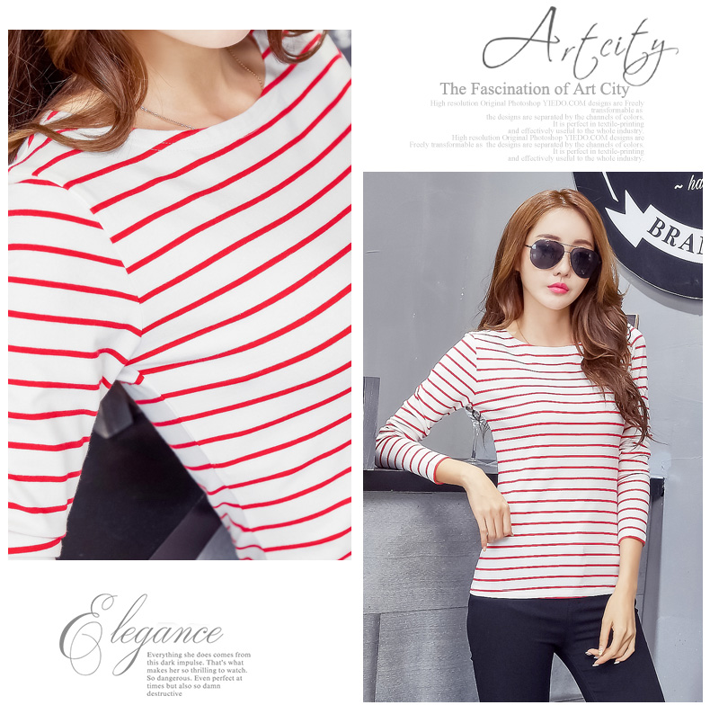 HTB1YjP2X.z.BuNjt bXq6AQmpXaI - Soperwillton Cotton T-shirt Women New Autumn Long Sleeve O-Neck Striped Female T-Shirt White Casual Basic Classic Tops #620