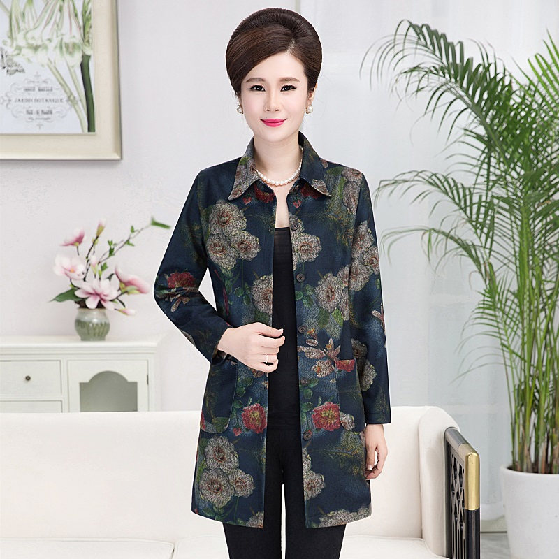 2017 Spring Autumn Print Jacket Women Coat Stand Collar Outerwear Middle-Age Women Mother Clothing Big Size Windbreaker XL-5XL
