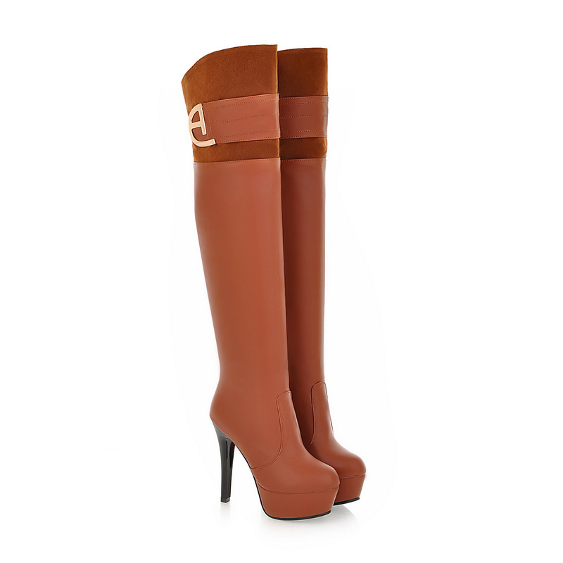 ФОТО Brand New Black Brown Apricot Women Over the Knee Thigh High Boots Platform Dress Ladies Shoes EH10-6 Plus Big Size 10 43