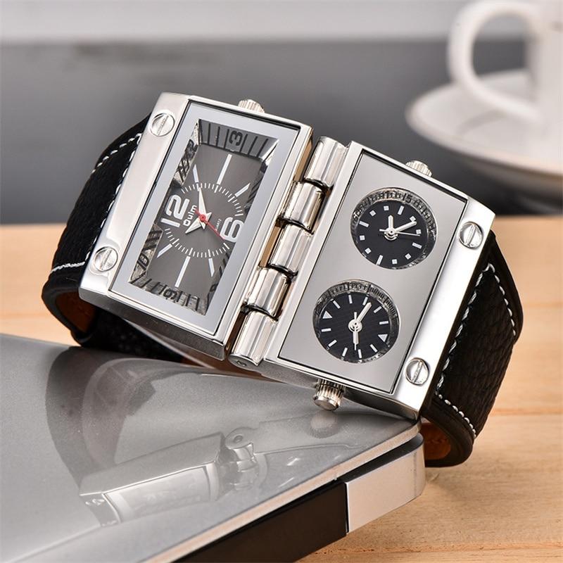 Oulm 2 Different Square Dials Watch 3 Time Zone Men's Wrist Watches Big Size Male Quartz Clock Unique Leather Man Watch New