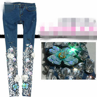 Women fashion embroidered Flower Beading Diamond Skinny hole pencil jeans