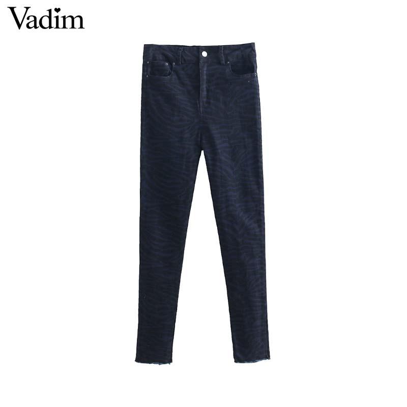 Vadim Pantalones Borlas Lápiz Mujeres Jeans De Bolsillos Largos Estampado Cebra Ka470 Picture As Skinny Animal rwr4Cqzx