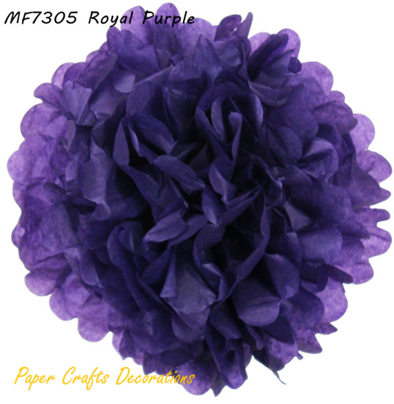 Free Shipping 16pcs Lot 6inch 15cm Royal Purple Pom Paper For Holiday Party
