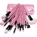 32 Pcs Pincéis de Maquiagem Conjunto Kit de Madeira Premium Sintético Profissional Maquiagem Cosméticos Escova Kit com Rosa PU Bolsa de Couro