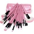 32 Unids Madera Pinceles de Maquillaje Set Kit Profesional Premium Sintético Maquillaje Cosmético Cepillo Conjunto Kit con Rosa PU Bolsa De Cuero