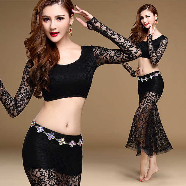 e0e834266 2017 Women Belly Dance Clothing Sexy Dancewear Spandex Suit for Practice  Lace Outfit for Bellydance Top