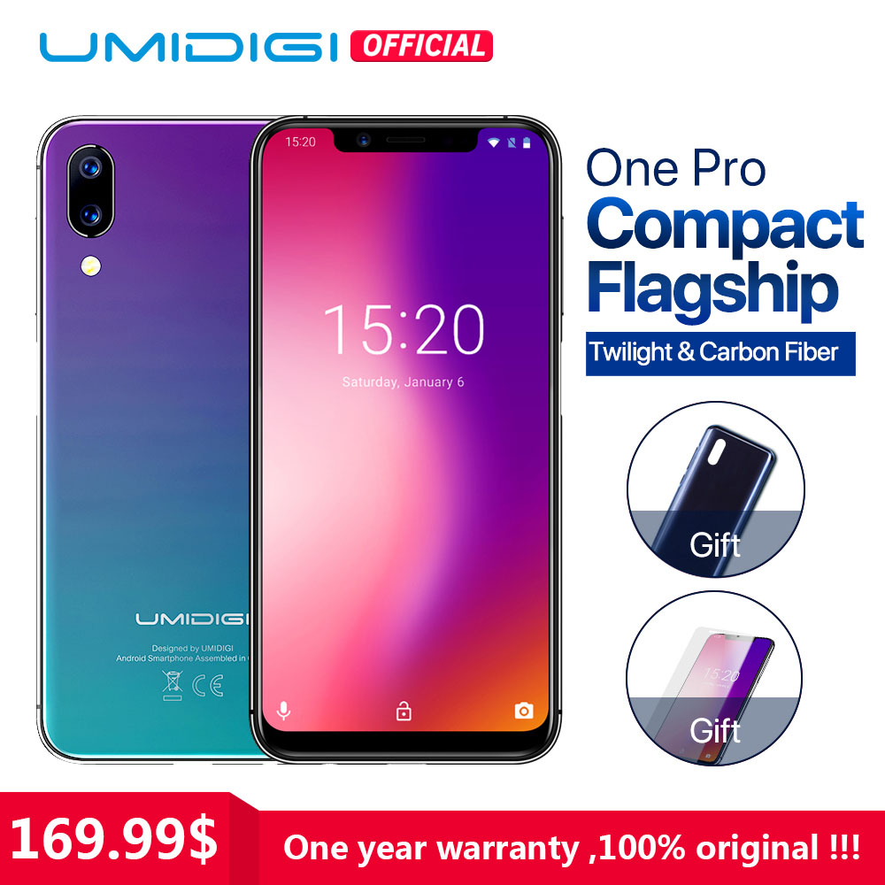"UMIDIGI One Pro Global Band 5.9"" Android 8.1 mobile phone wireless charge 4GB 64GB P23 Octa Core smartphone 12MP+5MP Dual 4G NFC"