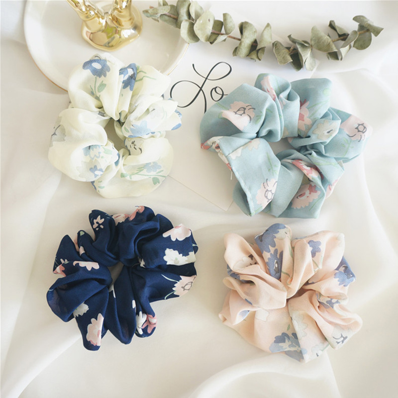 1PC New Women Elegant Print Flower Cloth Elastic Hair Bands Ponytail Holder Female Rubber Bands Hair Ropes Lady Hair Accessories