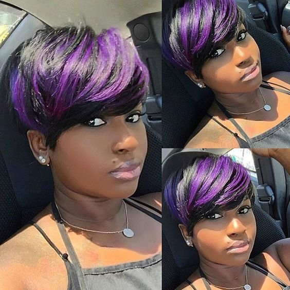 Natural Wave Hair Short Human Hair Wigs With Baby Hair Purple Bang Brazilian Straight Wigs For Black Women invisible bra