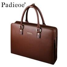 Padieoe Deluxe Men Vintage Handbag Luxury Business Men's Retro Split Cow Leather Messenger Bag Fashion Casual Tote Laptop bag