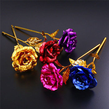 24k Plated Rose Multi Colour Rose Everlasting Stem Real Rose Romantic Gift Valentine's Day Anniversary Birthday Mother's Day image