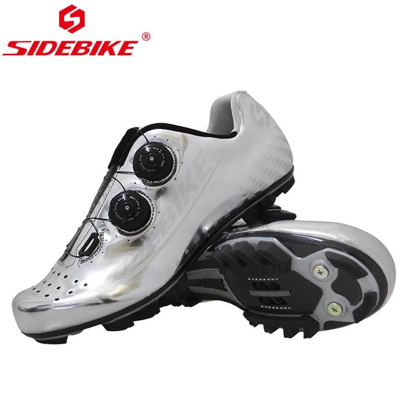 SIDEBIKE Ultra-Léger En Fiber De Carbone Hommes de Vélo Chaussures Respirant Triathlon Vélo Vtt Vélo VTT Chaussures avec Spin Boucle