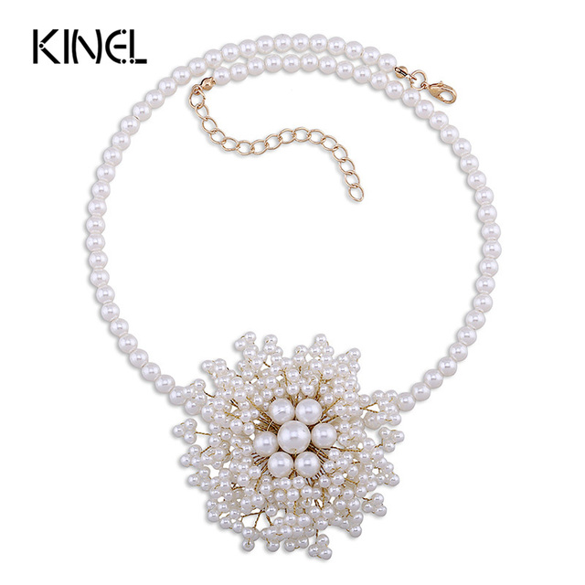 Kinel Luxury Fashion Pearl Flower Necklace For Women Bohemia Jewelry Plating Silver Tassel Manual Long Necklace Mothers Gift