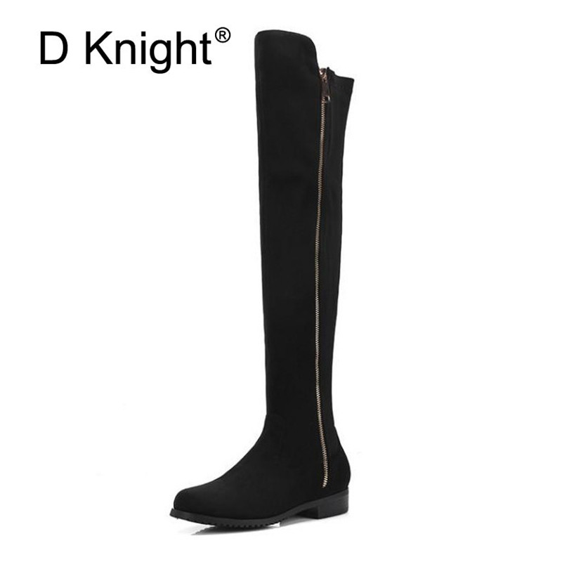 Low-heeled Over The Knee Boots Women Thick Heel 2019 Winter Stretch Skinny Australia Boots Side Zip Red Women's Thigh High Boots цены онлайн