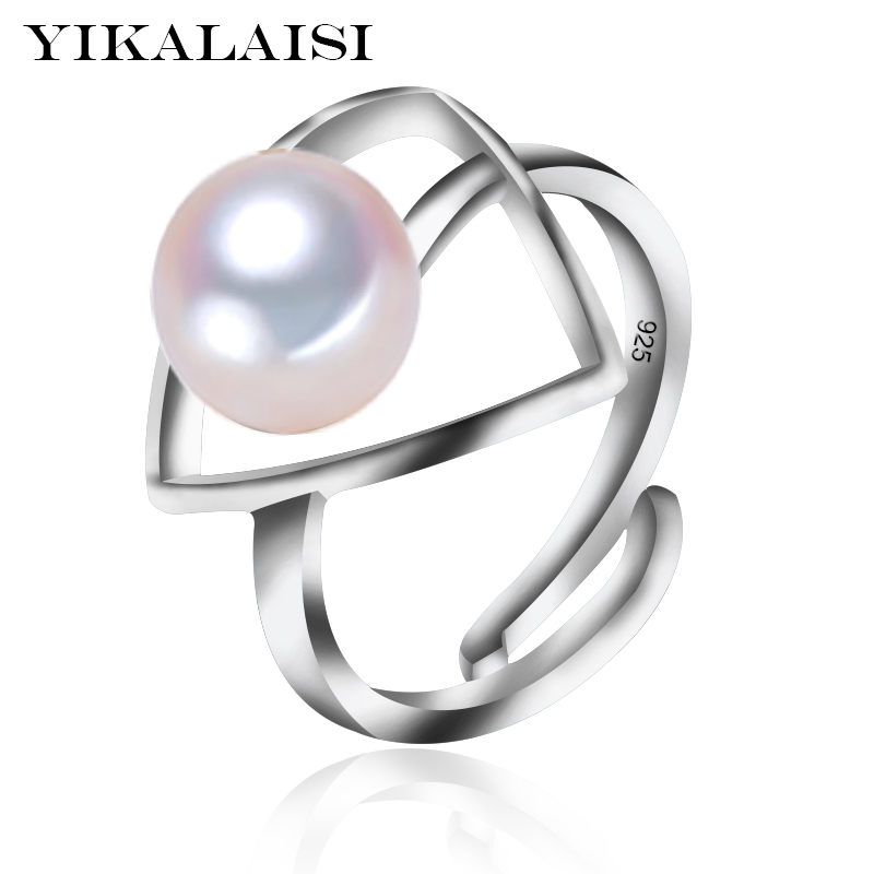 YIKALAISI 925 Sterling Silver Natural Freshwater Pearl Triangles Fashion Rings Jewelry For Office Women 8-9mm Pearl 5 Colour