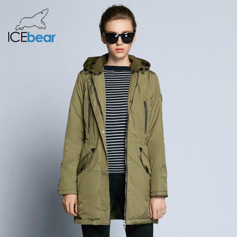 ICEbear 2018 Женская зимняя высококачественная верхняя тёплая одежда средней длины для повседневного использования широкая парка с регулируемы...